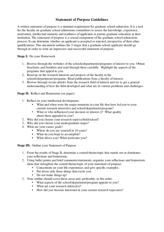 Statement Of Purpose Guidelines