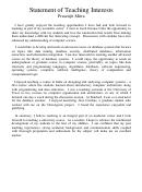 Statement Of Teaching Interests