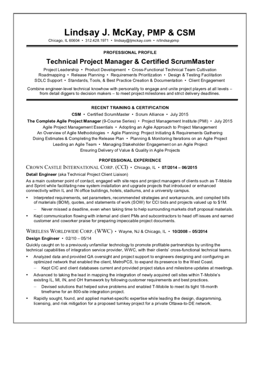 Career Transition From Telecom To Scrum Master Resume Sample