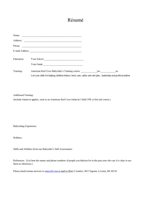 Babysitter Resume Printable pdf