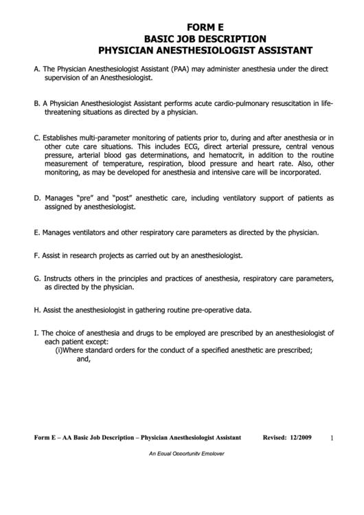 Form E - Aa Basic Job Description - Physician Anesthesiologist Assistant