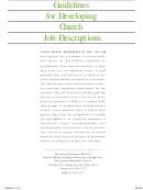 Guidelines For Developing Church Job Descriptions