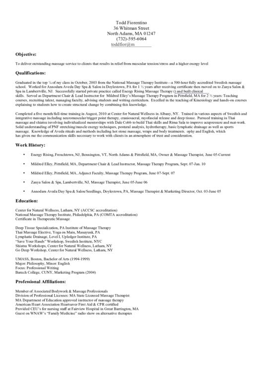 Massage Resume Example Printable pdf