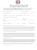 Aoda Customer Feedback Form Record Of Verbal Complaint