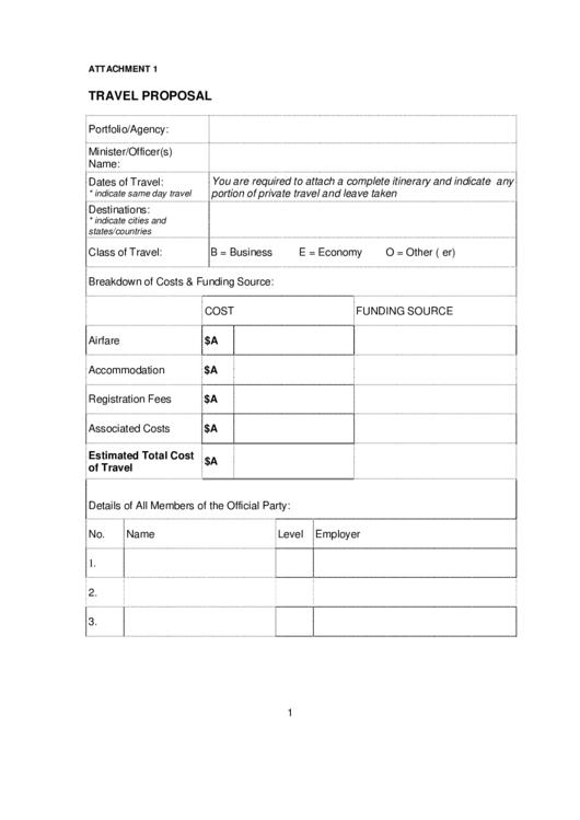 travel proposal printable pdf download