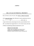 Bill Of Sale Of Personal Property