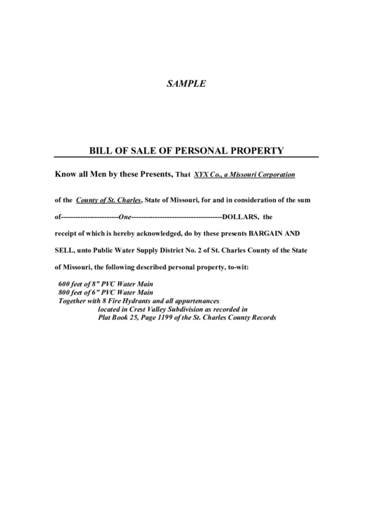 Bill Of Sale Of Personal Property Printable pdf