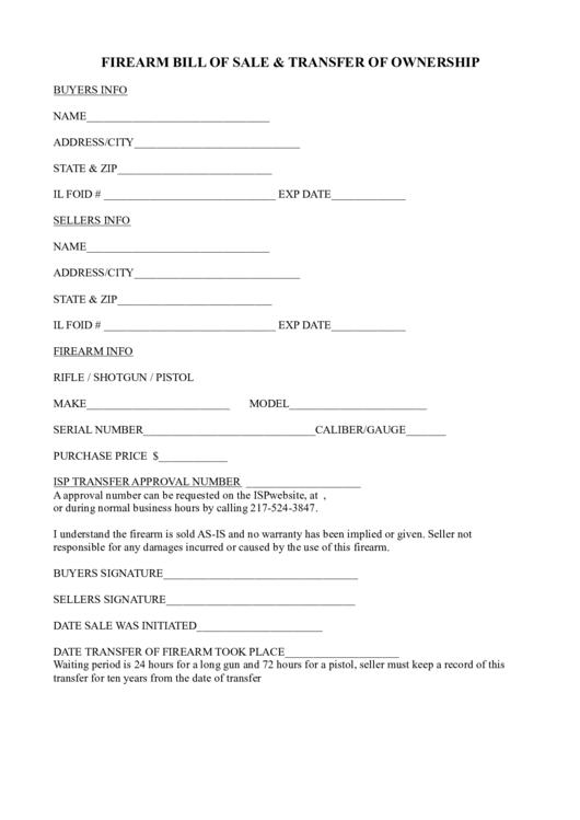 Firearm Bill Of Sale & Transfer Of Ownership printable pdf ...