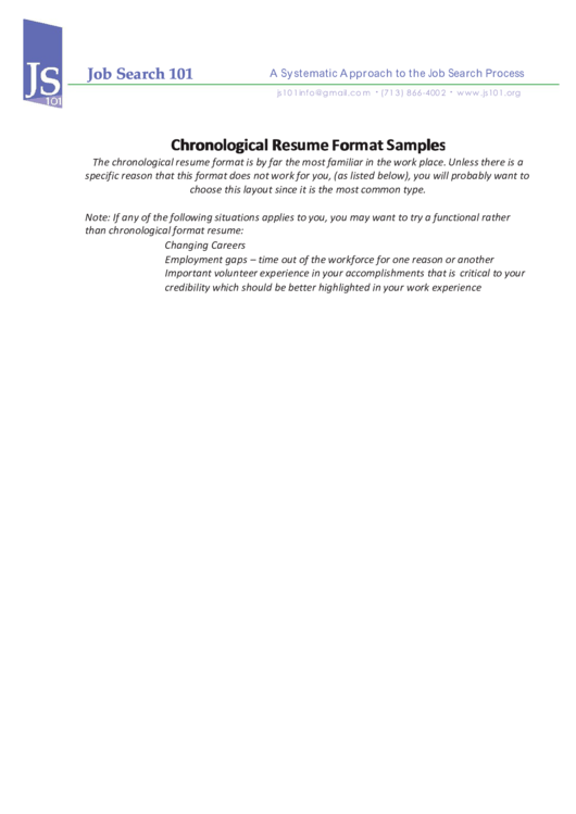 Chronological Resume Format Samples
