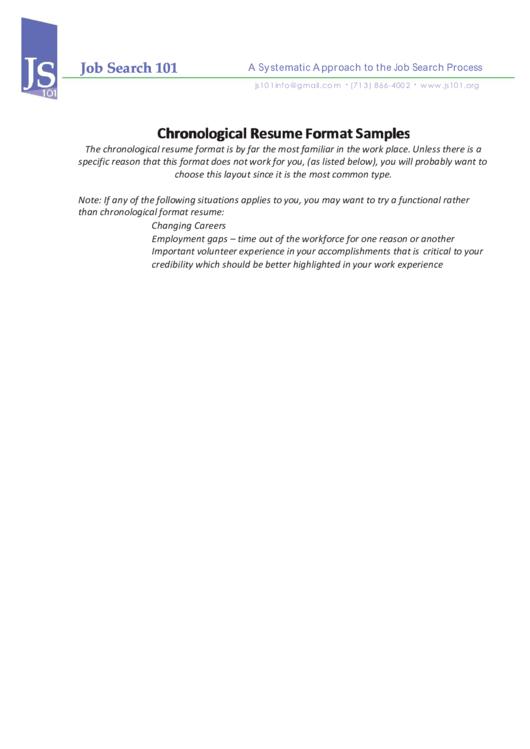 Chronological Resume Format Samples Printable pdf