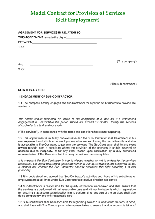 Model Contract For Provision Of Services (Self-Employment) Printable pdf