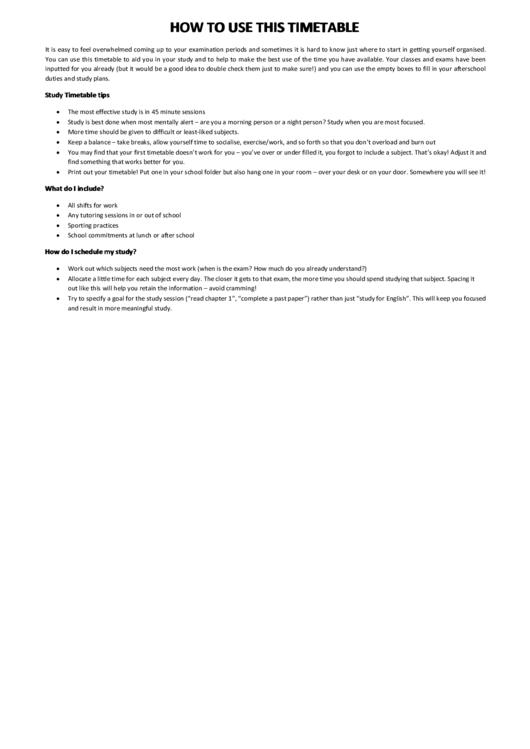 Study Timetable Printable pdf