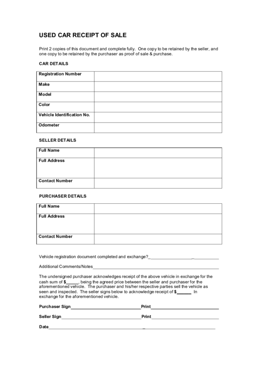 Free Bill Of Sale Template >> Fillable Used Car Receipt Of Sale Form printable pdf download