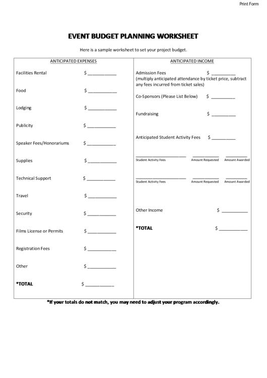 fillable event budget planning worksheet template printable pdf download