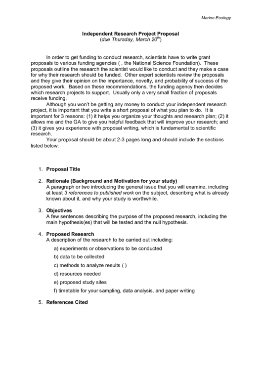 Marine Ecology Independent Research Project Proposal