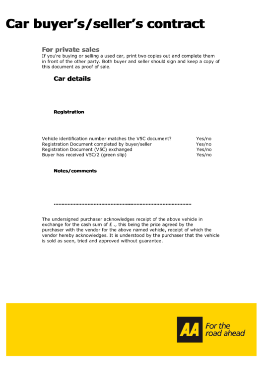 Car Buyer S Seller S Contract Template Printable Pdf Download