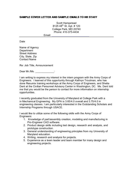 Sample Cover Letter And Sample Emails To Hr Staff Printable pdf
