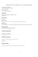 Sample Resume - High School - No Work Experience