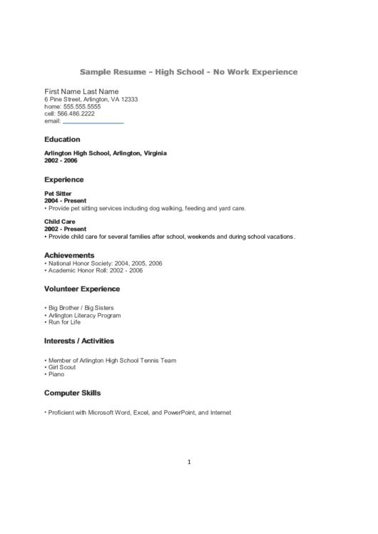Sample Resume - High School - No Work Experience Printable pdf