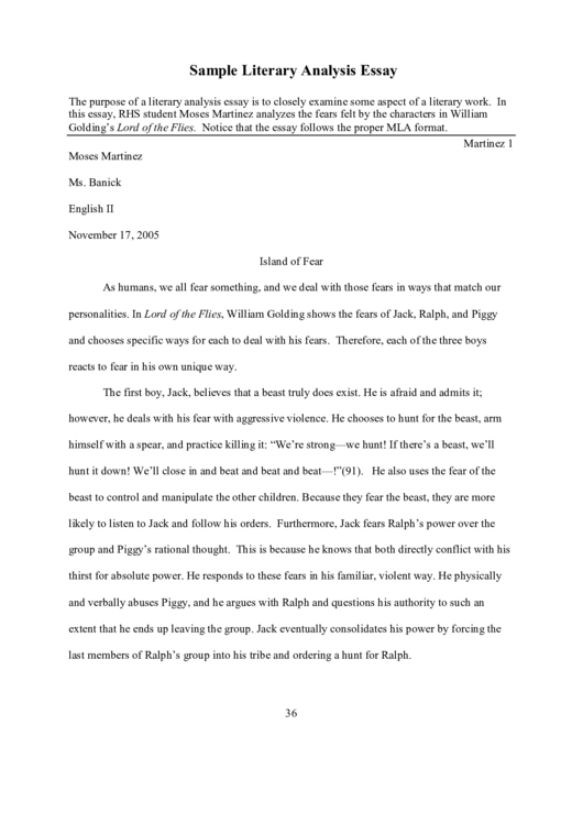 Sample Literary Analysis Essay Printable pdf