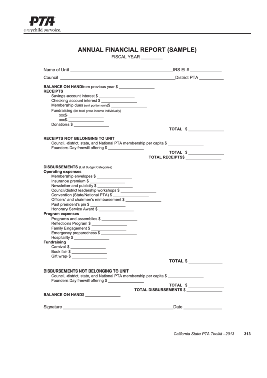 pta annual financial report template sample printable pdf download