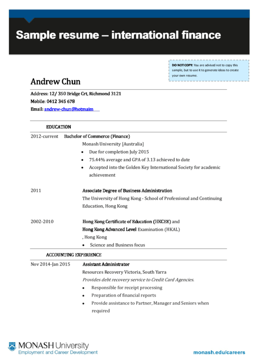Sample Resume International Finance Printable pdf