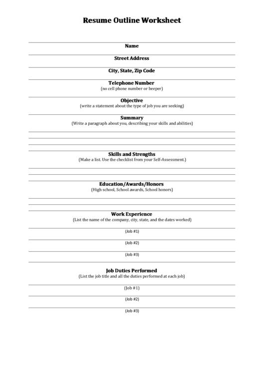 Resume Outline Worksheet Printable pdf