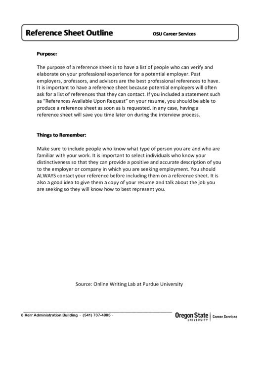 Reference Sheet Outline Printable pdf