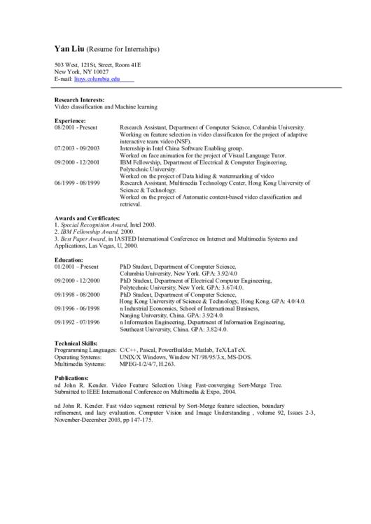 Resume For Internships Printable pdf