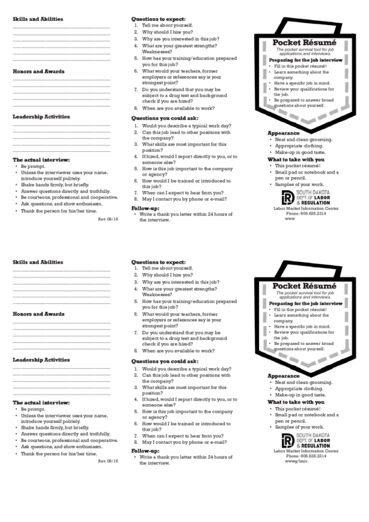 Pocket Resume Printable pdf