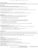 Sample Resume, Suitable For A Studio Or Residency Position