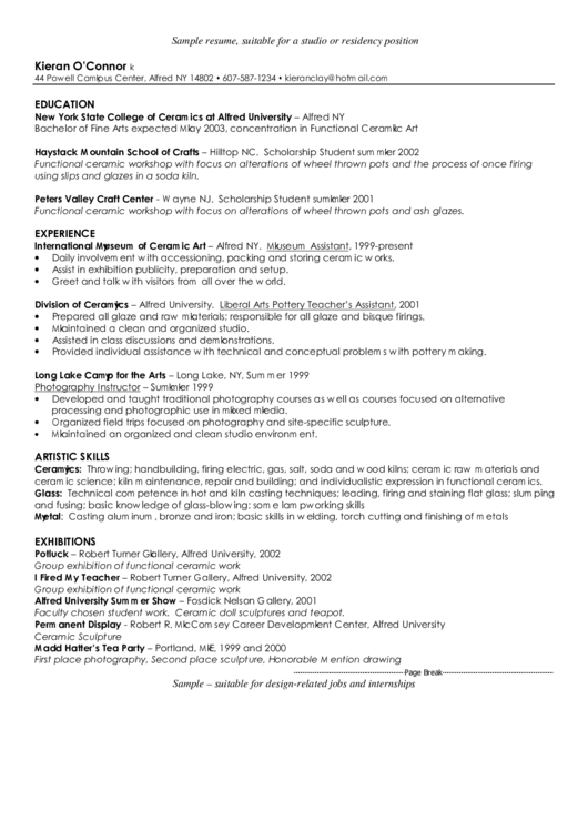 Sample Resume, Suitable For A Studio Or Residency Position Printable pdf