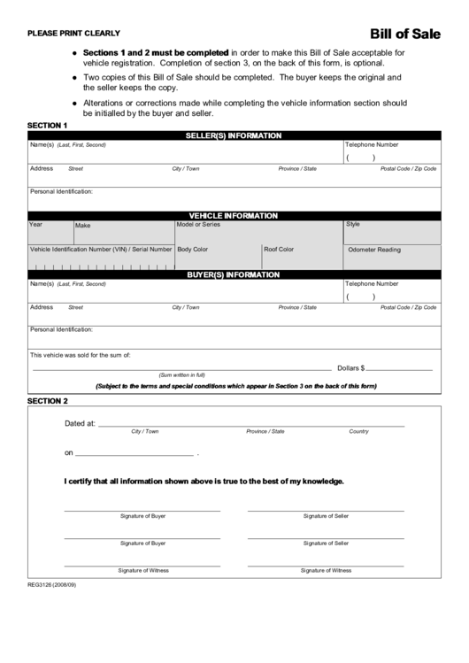 Fillable Vehicle Bill Of Sale Template Printable Pdf Download