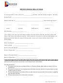 Motor Vehicle Bill Of Sale Template - Denver