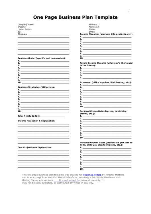 One Page Business Plan Template