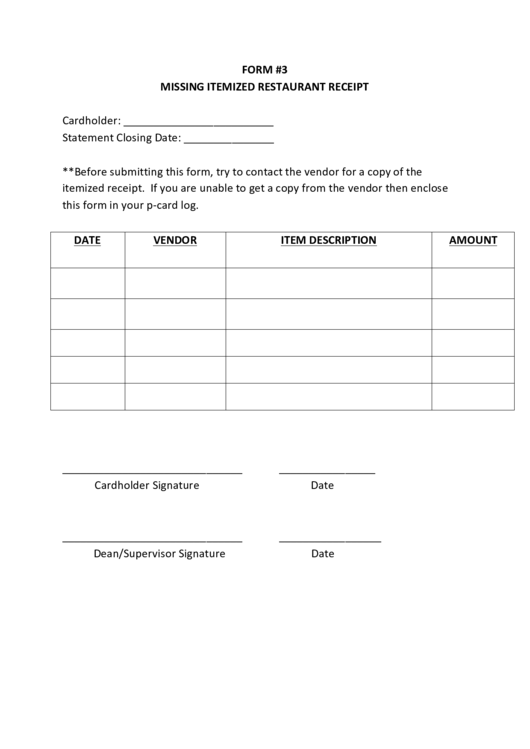 Top 7 Missing Receipt Form Templates Free To Download In Pdf Format