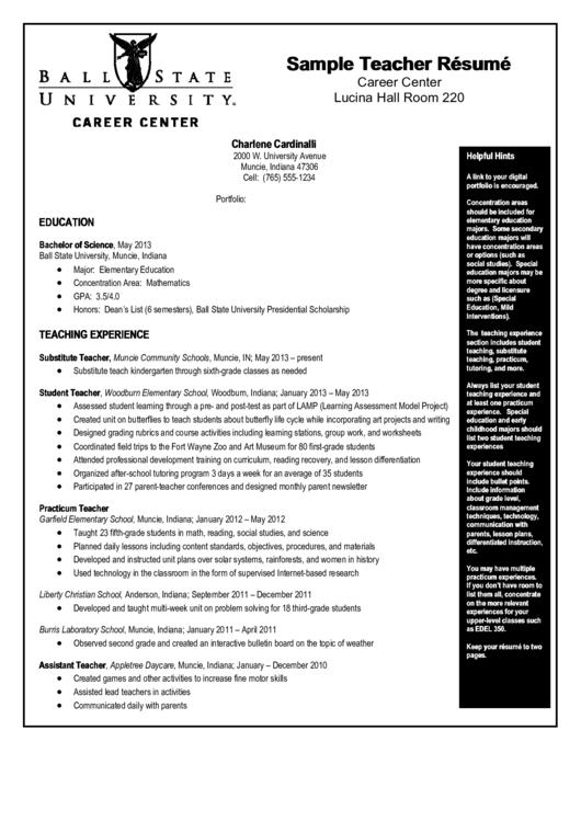 Sample Teacher Resume