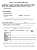 Character Reference Form