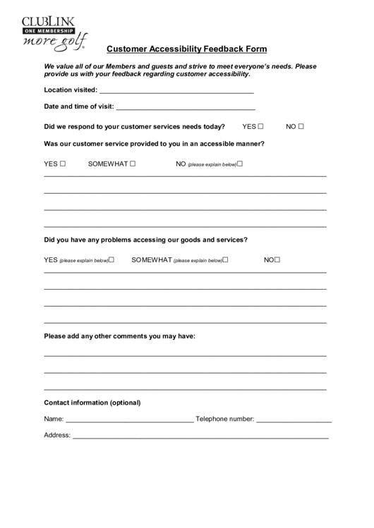 customer feedback form word template