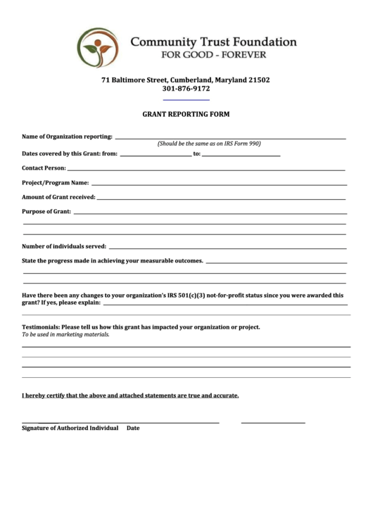 Grant report form printable pdf download for Grant reporting template