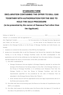 Standard Form - Declaration Containing The Offer To Sell Gas