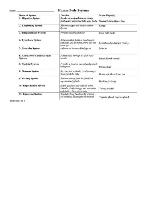 Human Body Systems Chart Printable Pdf Download