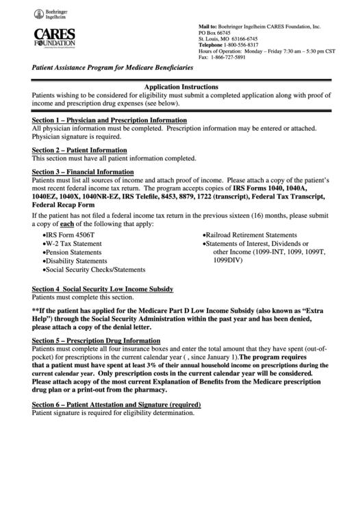 Patient Assistance Program For Medicare Beneficiaries Printable pdf
