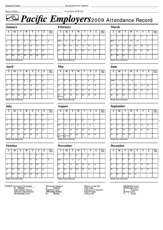 attendance record calendar template