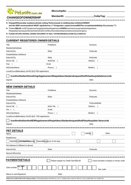 Pet Change Of Ownership Form Printable Pdf Download