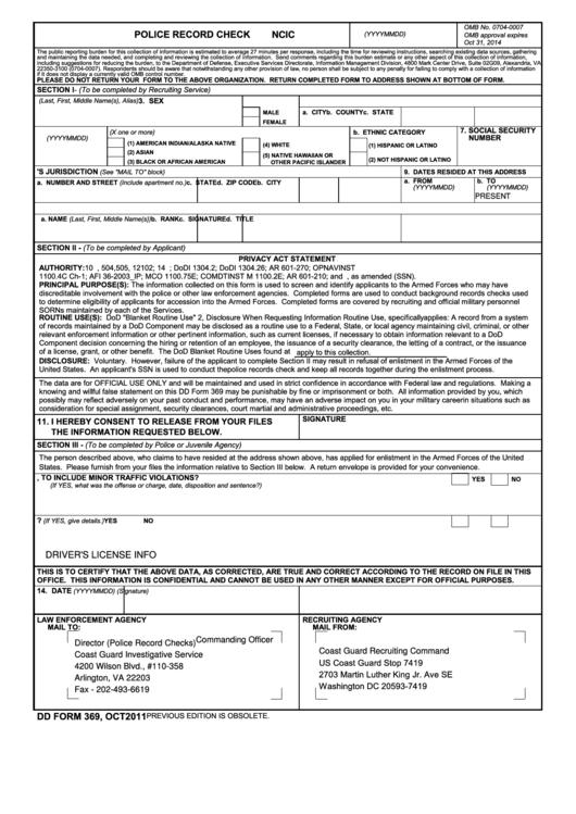 Dd Form 369 - Police Record Check