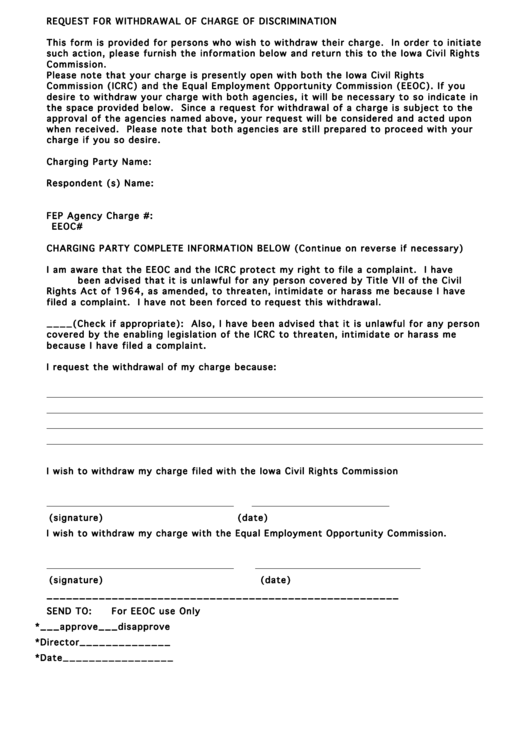 Request For Withdrawal Of Charge Of Discrimination