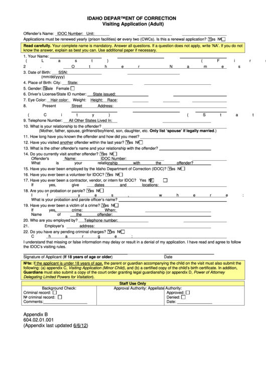 Top 7 Inmate Visitation Form Templates free to download in PDF ...