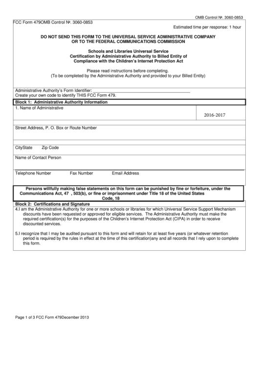 Fcc Form 479 printable pdf download