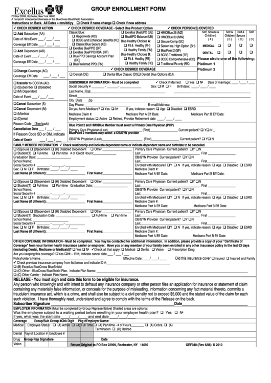 Form Gef040 - Excellus Bluecross Blueshield Group Enrollment Form ...